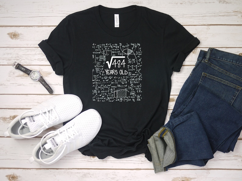 22nd Birthday Shirt - Square Root Of 484 - 22 Years Old - Born In 1997 -  Birthday Party - Math Humor T Shirt - Birthday Gift