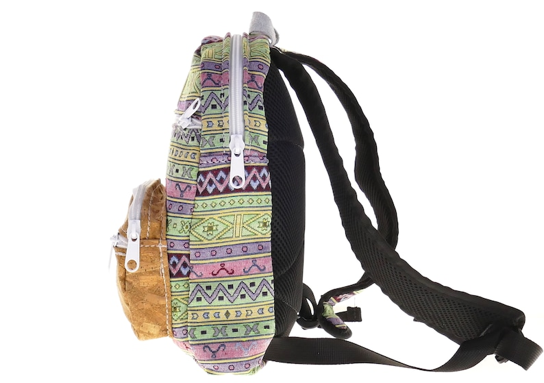 mini backpack cork bag mid-size backpack handemade bag every day bag small backpack ethnic bag