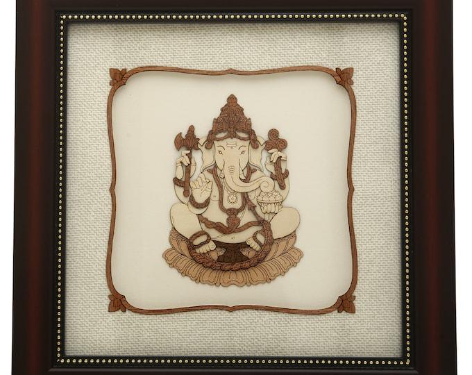 Ganpati Wooden Art Painting Ganesh Art Sclupture Gajanan 2D /& 3D View Painting Art Work Indian God Painting Home Decor Gift Souvenir Ekdant