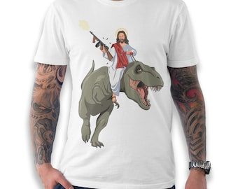 e2fab00d Jesus On A T-Rex Funny T-Shirt, Men's Women's All Sizes