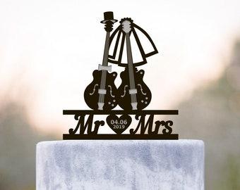 Wedding musicians guitar  cake topper,wedding musician mr mrs topper,guitar wedding wedding cake topper,musician wedding cake topper,a239