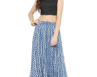 43ba9a2e85 Hand Block Print Skirt, Indian Long Cotton Boho Skirts for Women, Free size  Indigo Skirt, Indian block Printed Long Skirt Dress For Women