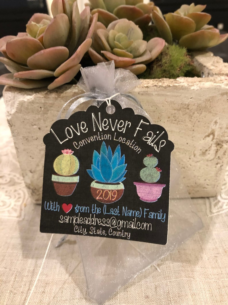 2019 International Convention JW Gifts Delegate Gifts Love Never Fails  Chalkboard Succulent cactus Houston texas Phoenix Arizona Jw Magnet