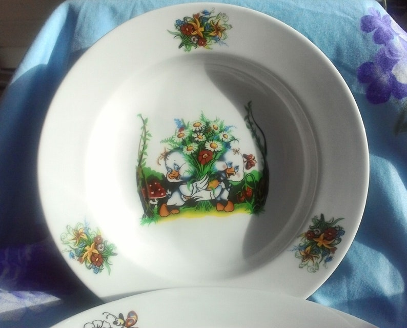 Children/'s dinner plate set  duckling baby shower gift  porcelain duck  sympathy gift son  father daughter gift  baby gift with birds