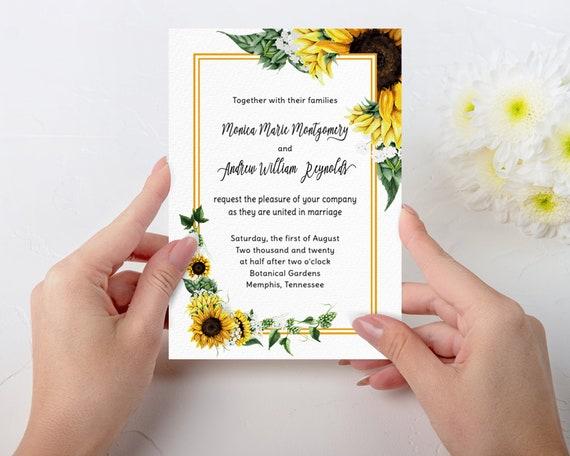 Sunflower Wedding Invitation Template Bundle Minimal Wedding Invite Suite Instant Download Printable Watercolor Wedding Invitation Template