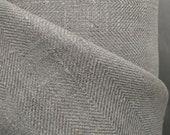 Broken twill 100 linen fabric 240gsm Herringbone. Fishbone . Natural. Medium weight, dense. For dresses, blouses, trousers, skirts