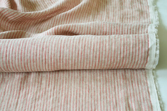 100/% Linen Woven Fabric Yarn Dyed Multi-Color Stripe By the Yard