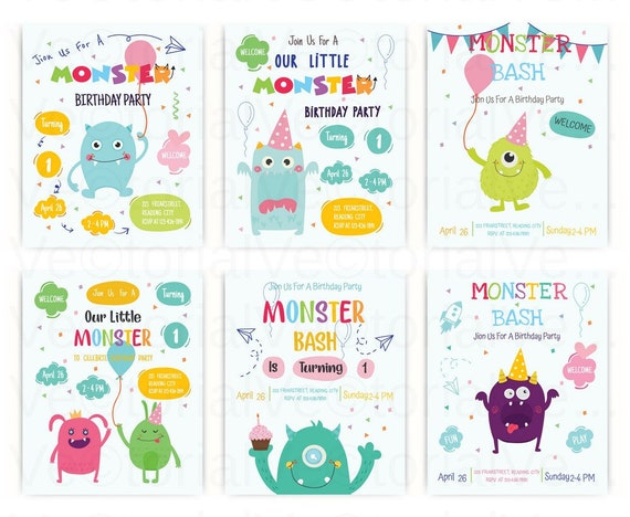 Set Cute Monster Happy Birthday Party Invitation Card Vector Svg Eps Dxf Pdf Png Jpeg