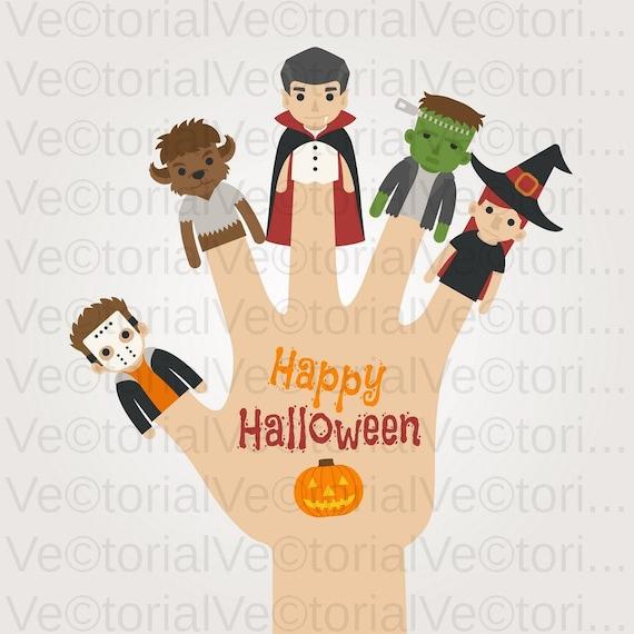 svg cut monster set finger happy halloween day dead clipart etsy etsy