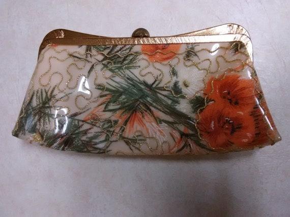 Vintage Garay floral printed vinyl plastic clutch