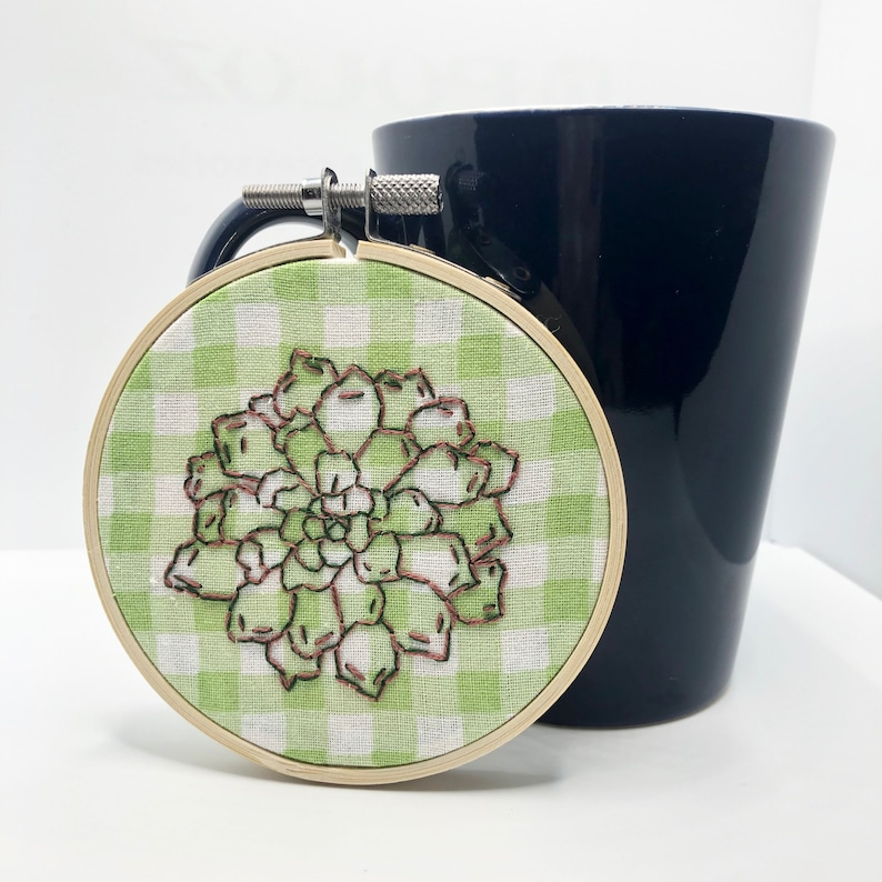 Embroidery Hoop Art Modern Embroidery Succulent Plant Mother/'s Day Gift for Her Nursery Decor Hand Embroidery Plant Lady Gift