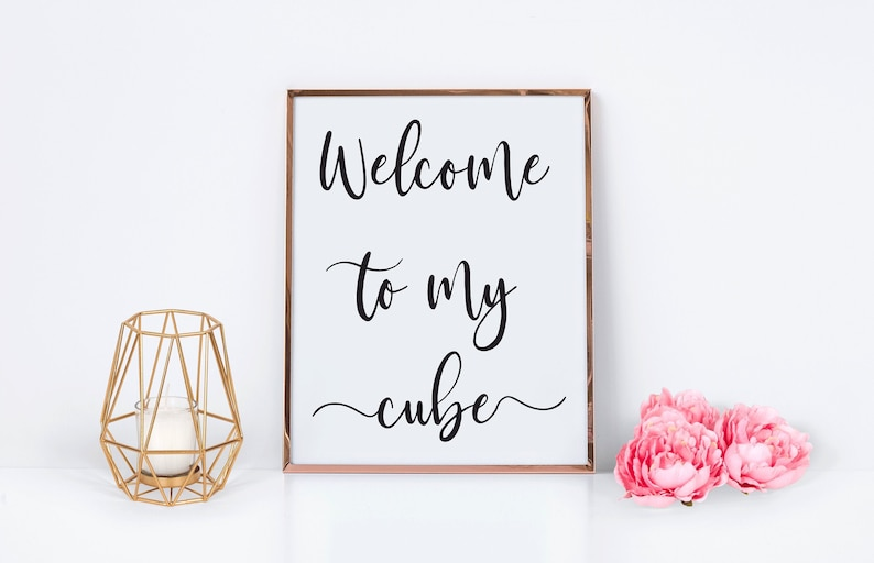 Welcome To My Cube Printable  Office Decor  Office Cubicle image 0