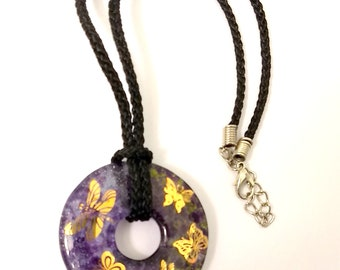 New Purple & Green Round Glass Pendant Necklace with 22K Gold Butterflies