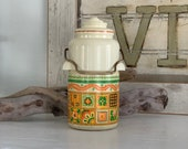 Avon Patchwork Cologne Mist, thermos style container, Vintage Avon perfume Bottle, Vintage Decor, Camping Decor, Woodsy Decor, Cabin Decor