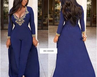 Addison jumpsuit ( Navy Blue )// kaftan // abaya // jumpsuit // for prom , babyshower , wedding , gala , bridesmaid.