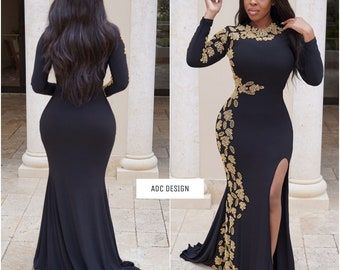 Monza Royal Dress ( Black ) for baby shower , bridesmaid, halloween party , bridal shower, bride, prom and wedding guest.