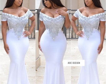 Madelyn ( White dress with swarovski crystal & Silver beads )