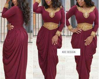 Queen Lissa Dress ( Dark Wine color )// kaftan // abaya // jumpsuit // for Halloween  , babyshower , wedding , gala , bridesmaid.