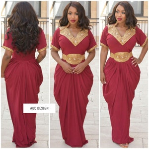 babyshower wedding kaftan  abaya  jumpsuit  for prom wine color Dallas Royal Gala bridesmaid. gala