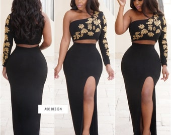 Lughann sexy set ( Black with Gold beads )