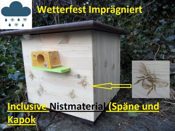 Hummelkasten//Hummelhaus// Insektenhotel// Hummelhotel  Wachsmottensperre  hellgrün