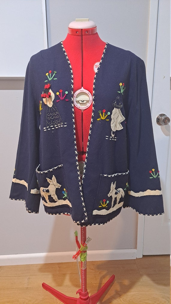 Stunning 1950s Mexican Hand-Felted Jacket