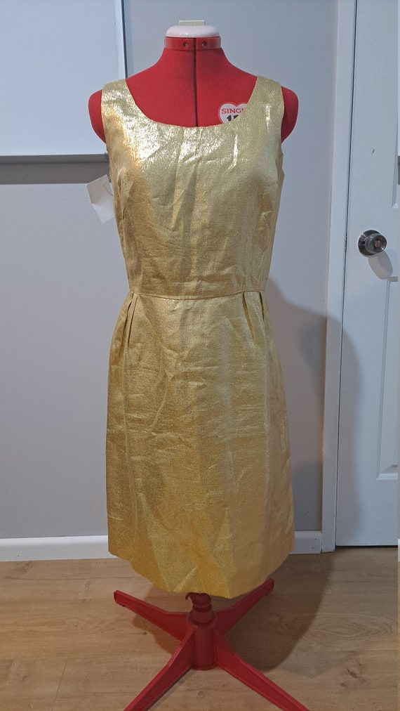 Vintage 1960s Gold Rayon Party Dress