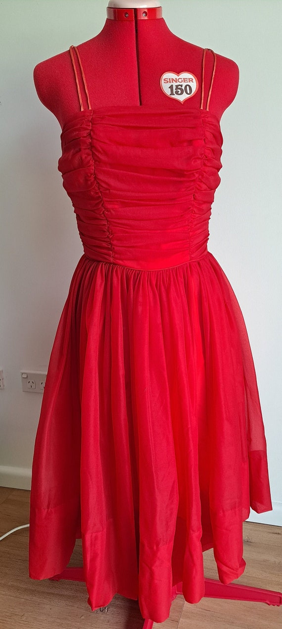 Vintage 1950s Red Prom Dress