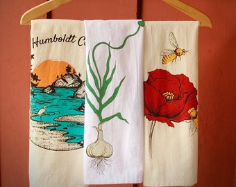 Tea Towels; 100% Cotton- Humboldt County; Poppy Honey Bees, Growing Garlic, Sunflower, Gold Bee Cell, Trinity County Heart Beet Designs
