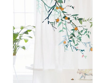 Japanese Style Shower Curtain Cat Hand Drawing