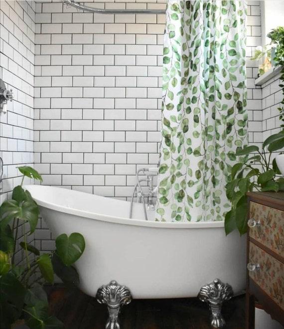 Eukalyptus Blatter Dusche Vorhang Tropischen Blatter Grun Etsy