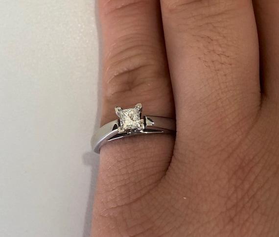 Square Princess Cut Diamond Solitaire Engagement Ring Promise Etsy