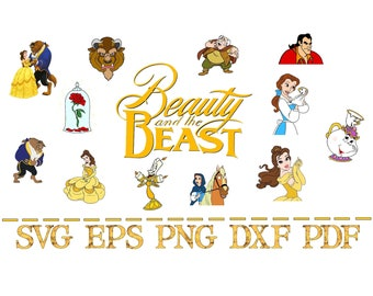 Belle Beauty & the Beast Cutfiles, Svg, Eps, Dxf, Png, Pdf. Layered for Cricut, Silhouette. Bundle of 12 Files!