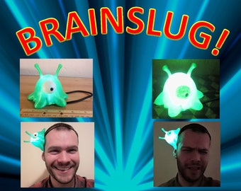 Futurama Brain Slug Cosplay, LED Light Up Casual Costume, Wearable Brainslug Hat Straps on Head, Halloween, Comiccon