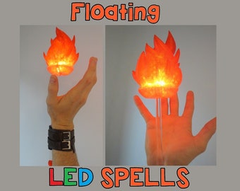 Floating LED Magic Spell Cosplay! Wrist Mounted Light up LED Wearable Fire, Ice, Electricity & Elements for Costume, Comiccon, Halloween