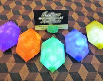 Glowing Wearable Rupee, LED Light up BOTW Zelda Link Lit Prop Gem for Costume, Cosplay, Comiccon, or Halloween