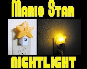8-bit Mario Star Night Light, Original Super Mario Themed Yellow Pixel Star LED light with Auto On/Off