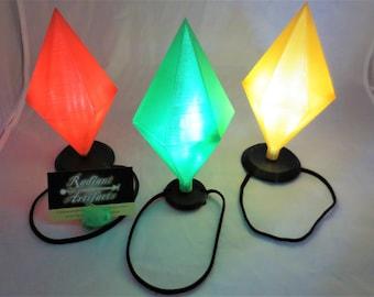 Sims Plumbob LED Light Up Casual Costume, Wearable Hat Straps on Head,Mood Plum Bob Headband Cosplay, Comiccon, Halloween