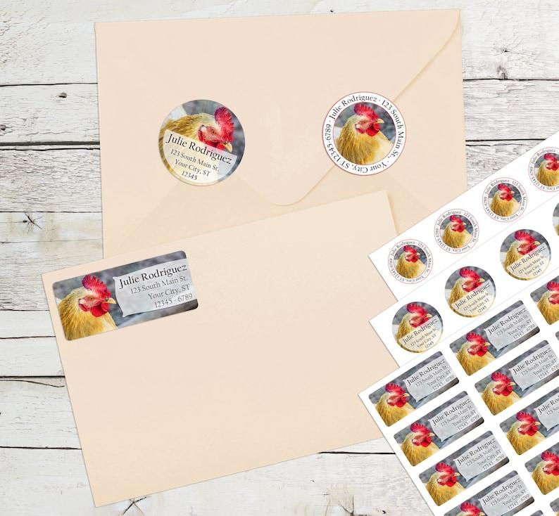 Rooster Personalized Return Address Labels Chicken Farm Animals CKN100/_ML