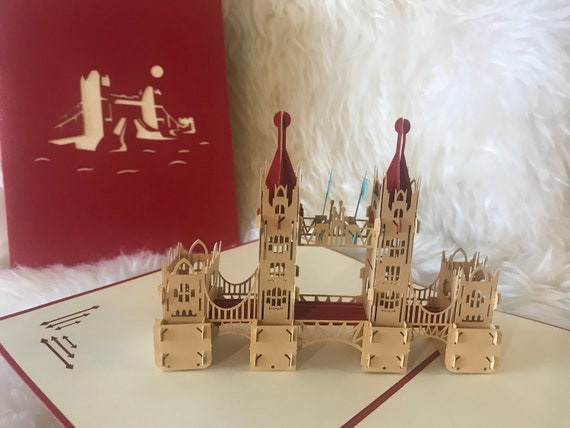 3D Tower Bridge greeting card,London Souvenir pop-up card,lovely greeting card