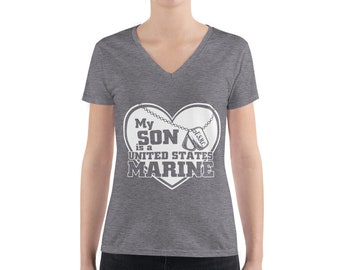 ca21a612a My Son Is A United States Marine - Women's Fashion Deep V-neck Tee