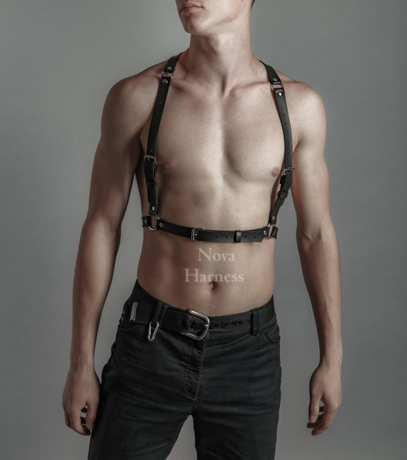 Leather Harness|Black men Leather Harness|Chest Harness|Bondage harness|bdsm|fetish bondage|body harness|leather gear|harness men|bondage