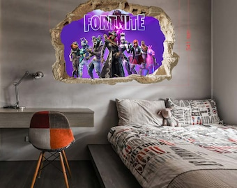 Fortnite Wall Stickers,Fortnite Smashed Wall 3D Decal Removable Graphic  Wall Sticker For Childrens Playrooms,Fortnite Wallpaper