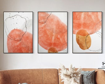 Bright Coloured Paintings Orange and Grey Wall Art 3 Piece Painting Modern Canvas Abstract Art Big Paintings for Living Room 24x36 Canvas