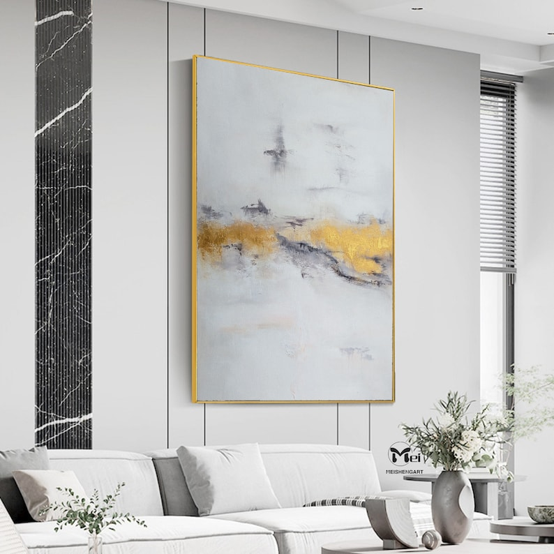 Large Abstract Painting On Canvas Sunrise Painting Landscape Abstract Art Gray Painting Gold Leaf Art Mountain Painting Contemporary Art