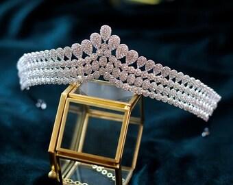 VLC54 Luxury Bridal Crown,Royal Crown,Retro Crown,Zircon Bridal Crown,Wedding Crown,Wedding Tiara,Princess Tiara,Sparkling Silver Crown