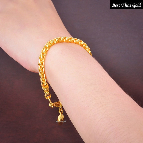 Gold Filled Bracelet,Thai Gold Jewelry Box Chain Bracelet Heart Bell Gold Charm Bracelet Bracelets for Women Yellow Gold Plated Bracelet