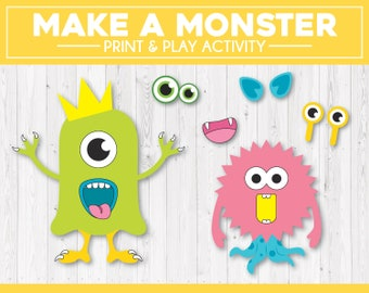 image about Build a Monster Printable named Create a monster Etsy