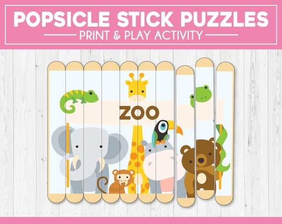 Popsicle Stick Puzzles Toddler Busy Bags Kids Printable Etsy