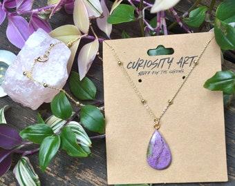 Beautiful Tear Drop stichtite  Stone Silver Pendant Handmade Silver Pendant Necklace stichtite  Stone necklace stichtite Stone  Pendant